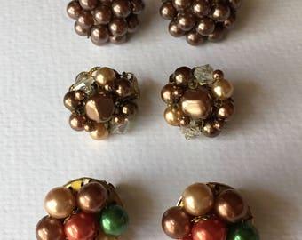 BROWN Vintage Earring Lot Destash Cluster Clip on Crystal Bead Pearl Rust Green Vintage Repurpose Recycle Upcycle Repair