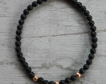 Minimalistic faceted matte black agate rose gold stretch bracelet
