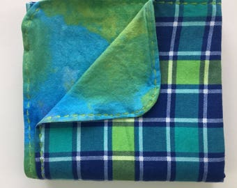 Blue and Green Plaid Flannel Receiving Blanket with a Decorative Edge Stitching. Ready to ship!