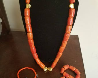 Kids Coral Set/ 2 Wrist Bangles/ 2 Ankle Beads/ African Kids Bead Set with Gold Accessories.