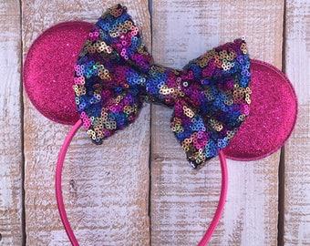 Minnie Ears, Mouse Ears, Hot Pink Mouse Ear Headband, Girls Birthday Headband, Minnie Bachelorette