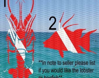 Dive Flag, Dive Lobster, Hogfish, Dive Decal, Diving Decal