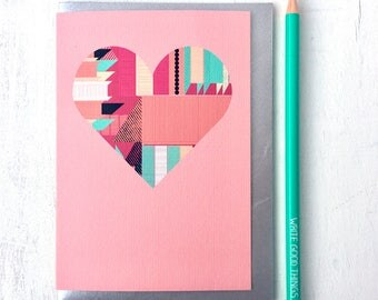 Valentines Card, Valentines Card Girlfriend, Valentines Card Boyfriend, Valentines Card for Her, Valentines Card for Him, Geometrics