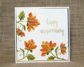 handmade anniversary card, flower anniversary card, modern flower anniversary card