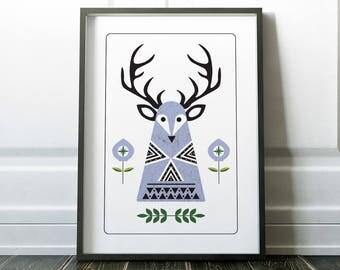 Scandinavian Print, Wall Art, Nordic Print, Stag Print, Scandi Wall Art, Nordic Wall Art, Stag Art, Scandi Print, Wall Art Print, Prints