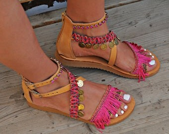 "Women Sandals, Handmade Leather Sandals, Greek Sandals, Boho Sandals, Hippie Sandals, Strappy Sandals, Gladiator Sandals ""Filini"""