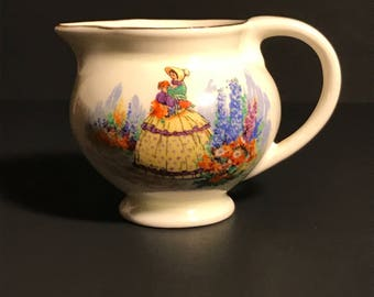 Vintage English China Creamer Crinoline Lady Gilded with Edge