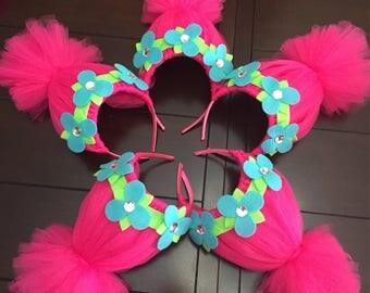 trolls headband, pink troll headband, trolls hair, pink trolls hair, girls headband, trolls party favor, adult trolls headband