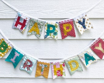 HAPPY BIRTHDAY banner, colorful floral lace eclectic fabric