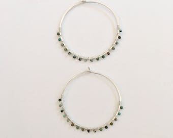 Hammered Hoop Earrings, Hammered Hoops, Silver Turquoise Bead Hoops, Silver Hoop Earrings, Earrings, Hammered Hoops, Silver Hoops