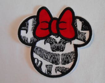 Mustache and Bow Minnie Mouse Iron on Applique Patch