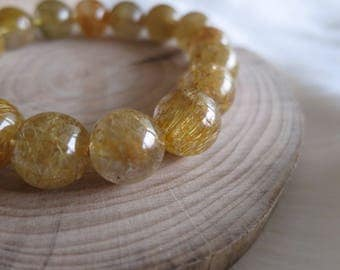 12mm Golden Rutile Bead Stretch Bracelet / Golden Rutilated Quartz Bracelet - ITEM #255