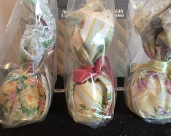 4 different Vintage Avon Gift Collection, floral potpourri basket, Sachet, & Pomandor Vintage stock but New in box and sealed