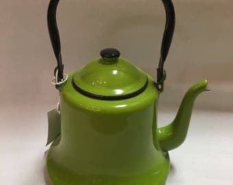 Green Enamel teapot by Asahi Japan