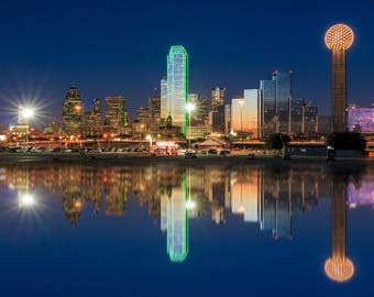 Dallas canvas at night Printed on Canvas, Dallas skyline, Texas, City skyline, Large Dallas Print, Dallas Texas wall art, Canvas gifts, art