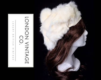 Vintage white rabbit/coney real fur beret winter hat. perfect for winter