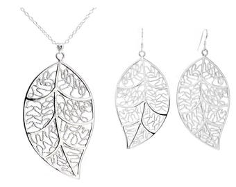 Sterling silver leaf necklace and earrings set, genuine 925 sterling silver hallmarked, drop leaf plant pendant, purple bag black gift box