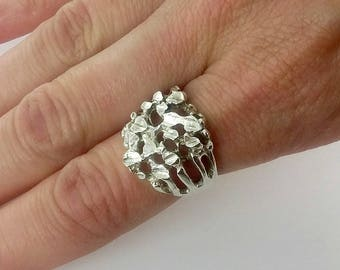 """Vintage Sterling Silver """"Nugget"""" Ring, Sz 6"""