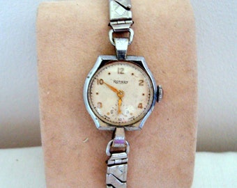 Vintage Manual Wind Swiss Made Rotary Ladies Watch 'Excalibur' Stainless Steel Expanding Bracelet