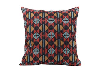 Aztec decorative pillow cover Tribal throw pillow covers Navajo pillow case Ethnic pillow cases Linen cushion covers Home decor gift 18x18