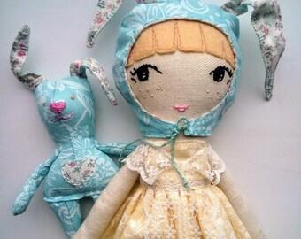 Paola with bunny Rag Doll, Handmade Doll, Girl Doll, Fabric Doll, Cloth Doll, Custom Doll