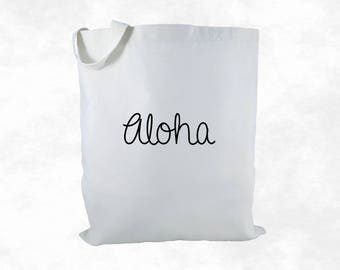 Aloha Canvas Tote Bag, Hawaii Tote, Hawaii Gift, Beach Bag, Destination Wedding Welcome Bag