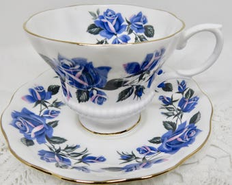 Royal Albert Bone China Footed Teacup and Saucer Large Blue Roses Pattern
