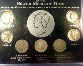 Silver MERCURY DIME DISPLAY With Dimes. Vintage.