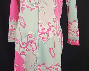 Vintage 60s EDUARDO Signed Psychedelic Mod PUCCI Print Pink Swirls Nylon Lounge Wear Dress Gown Saks Fifth Avenue