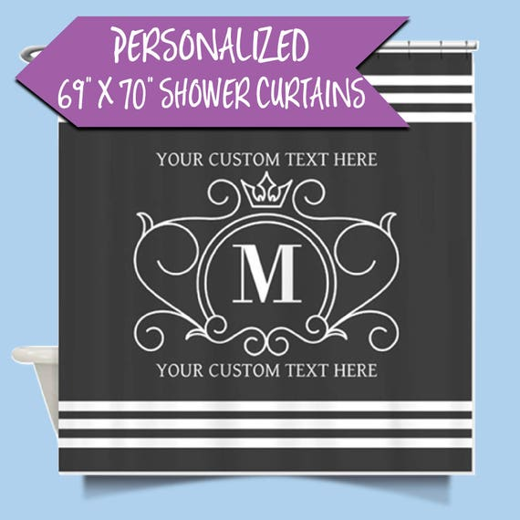 Monogrammed Shower Curtain |Custom Personalized Sower Curtain| Customized Shower Curtain |Scroll Monogrammed Shower Curtain