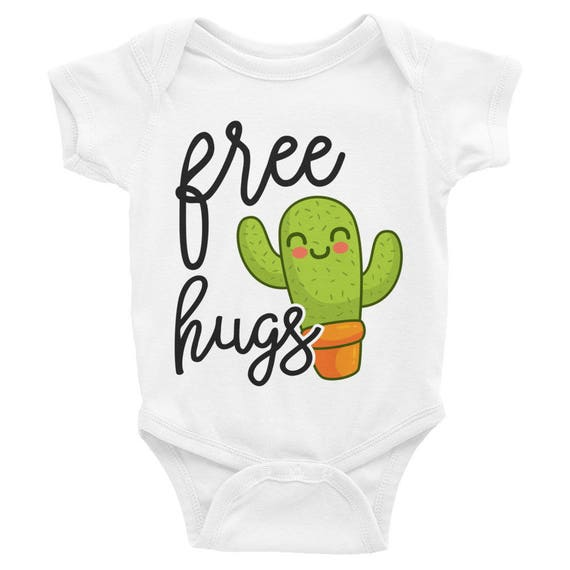 Cute Cactus Free Hugs Baby Bodysuit | Cute Baby Onesie | Funny Baby Outfit | Cute Baby Clothes