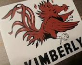 Personalized glossy Vinyl Decal,USC, Gamecocks