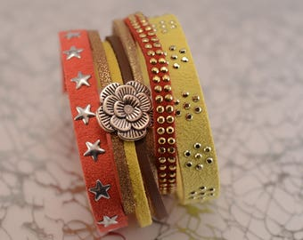 Cuff Bracelet red, yellow, Brown and Silver flower