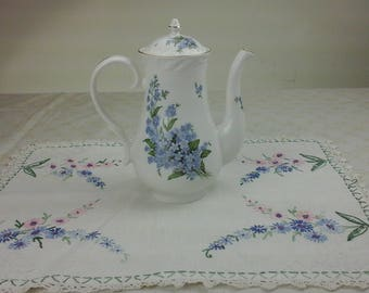 Vintage, beautiful, country English, heirloom fine bone china tea pot with blue forget me nots.