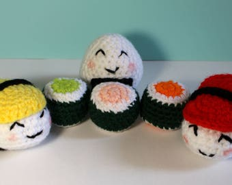 Crochet play food sushi set - Crochet sushi - Play food - Educational - Preschool - knitted food - CE tested - Vegan friendly