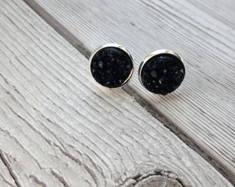 Black faux druzy stud earrings, sparkly earrings, girlie earrings, alrernative earrings, birthday gift, gift for her, thank you gift