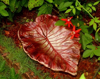 Leaf casting, Bird Feeder, hypertufa, Counter or table top Centerpeice, garden Art,  Crimson, Ruby Reds accents of gold, bronze. Hypertufa.