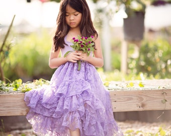 Purple Easter Ruffle Dress for Girls Toddlers, Spring Bohemian High Low Maxi Dress, Boho Rustic Flower Girl Dress, Hi Low Dress