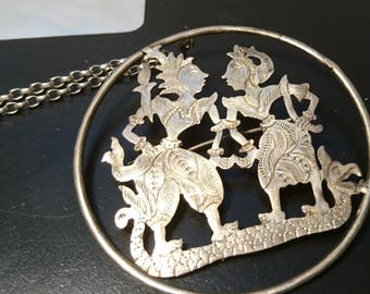 1970's vintage white metal siam circular pendant on a chain with pin