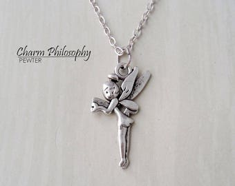 Tinkerbell Necklace - Silver Peter Pan Inspired Charm- Antique Silver Jewelry