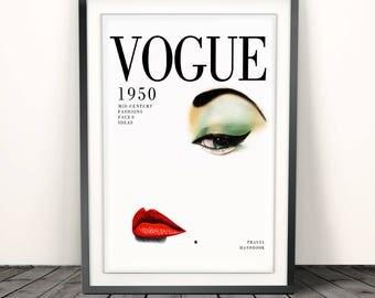 Vogue print, Vogue poster, vogue print vintage, Fashion Print, Fashion Illustration, fashion wall art,Vogue Cover Print 1950,Vogue Cover