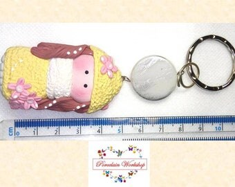 Keychain, clay chain, dolls porcelain cold chain, porcelaine froide
