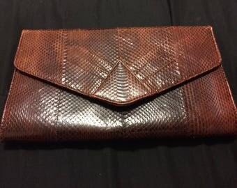 Snake skin  envelope clutch