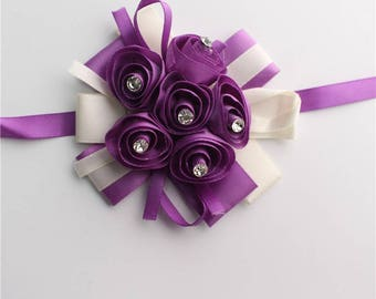Crystal Wrist Corsage Bridesmaid Sisters Hand flowers Ribbon Artificial Bride Flowers For Wedding Party more Colors Available