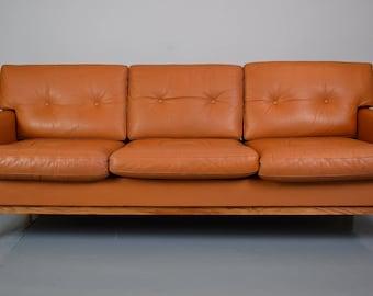 Mid Century Vintage Retro Danish Tan Brown Leather 3 Seat Sofa Settee 1960s  70s