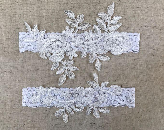 Lace Wedding Garter Set, bridal garters floral garter set
