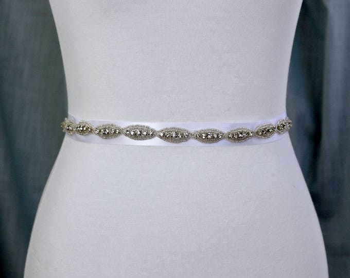 Dainty Bridal Belt Sash, Bridal Sash, Wedding Belt, Wedding Sash Pearl Sash