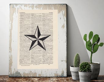 Print star-on antique page