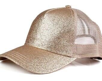 CC Gold Glitter Ponytail Cap - Pony Tail Hat