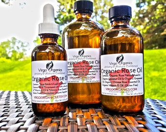 Organic Rose - Herbal Oil / Great for the Skin, Hair, Nails, Face, & Reduces Fine Lines!